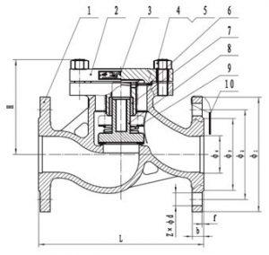 16нж10нж - клапан обратный подъемный